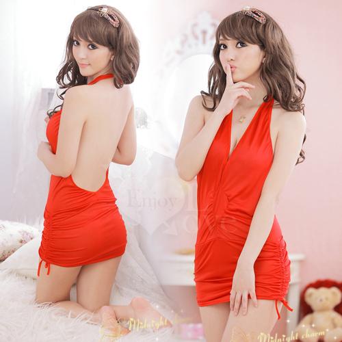 情趣用品 Cosplay 搶眼之星!綁脖式連體夜店服(紅)【530778】
