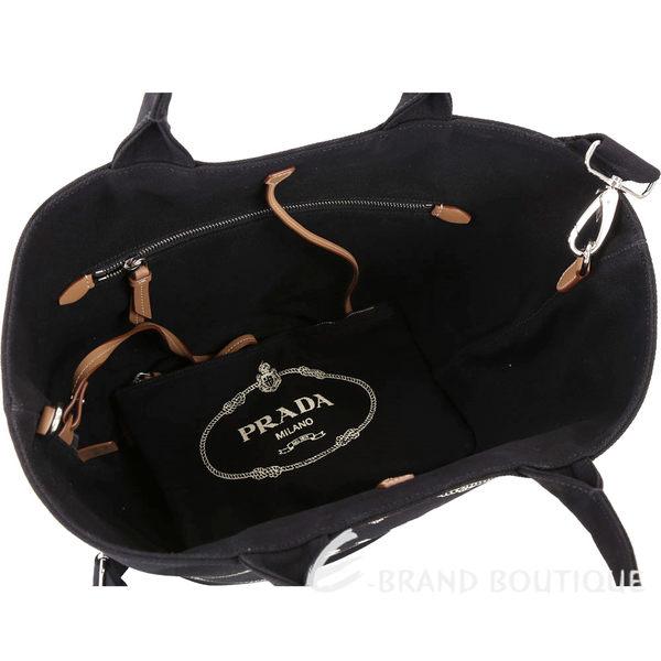 PRADA Giardiniera 單寧帆布印花兩用包(附萬用包/黑色) 1820447-01
