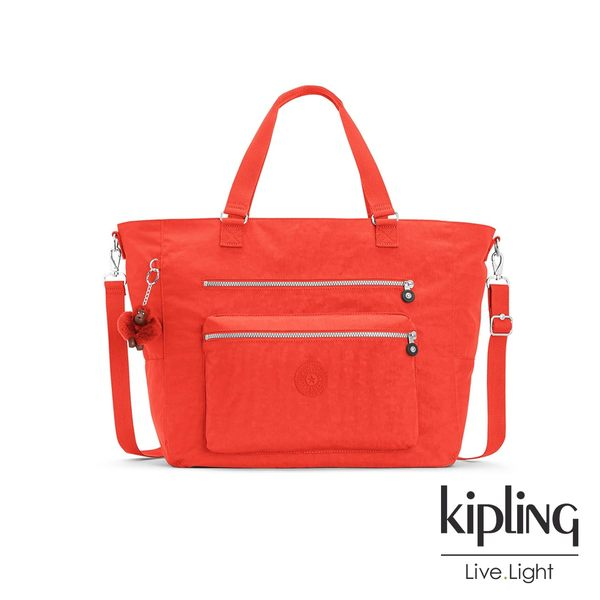 Kipling 亮橘色素面雙拉鍊手提側背包-ISAAC
