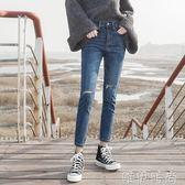 牛仔九分褲 高腰破洞牛仔褲女緊身九分褲春夏新款chic韓版八分小腳褲顯瘦 唯伊時尚