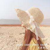 俏皮淑女風蕾絲蝴蝶結波兩邊草帽沙灘帽女夏天海邊度假遮陽帽 QQ19973『東京衣社』