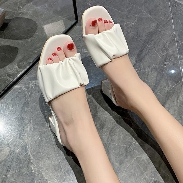 拖鞋.MIT夏日百搭純色花苞抓皺方頭高跟拖鞋.白鳥麗子