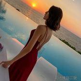 露背性感吊帶連衣裙紅色沙灘裙