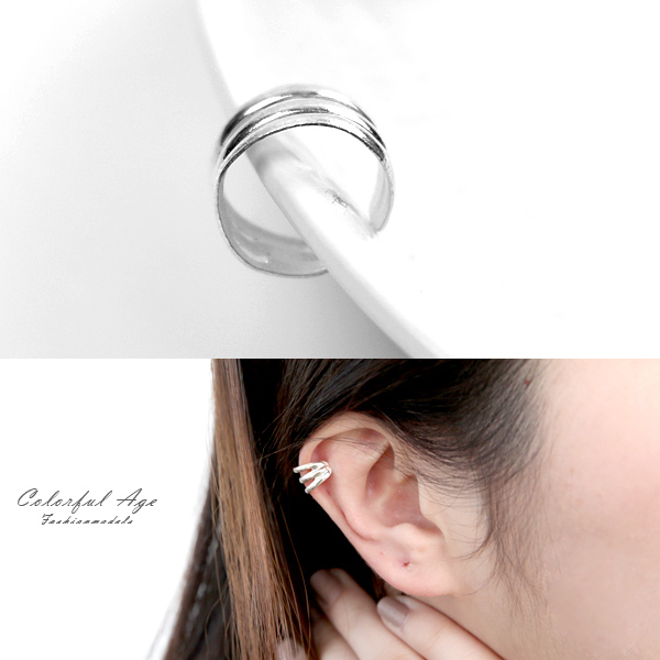 純銀耳環 三線鏤空耳骨夾NPD198