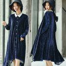 洋裝-進口高端絲絨襯衫裙/設計家 Q88...