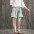 中大尺碼 大碼女胖MM夏季新款複古文藝寬鬆休閒棉麻短褲女鬆緊腰亞麻闊腿褲