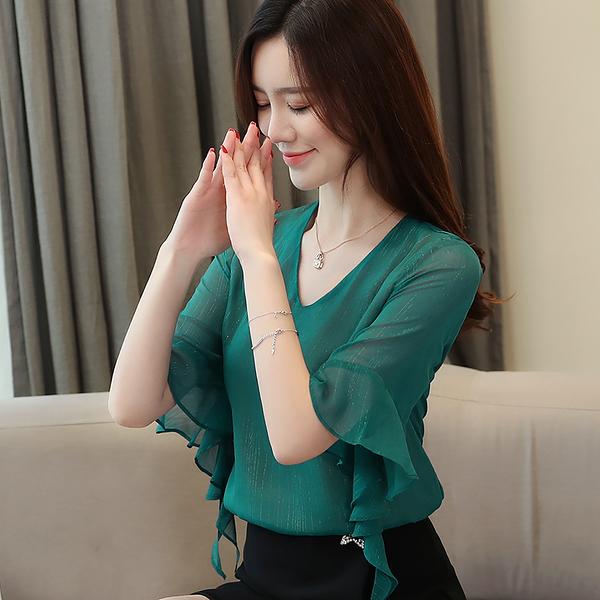 出清288 韓國風V領喇叭袖純色亮絲百搭氣質短袖上衣
