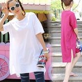 夏裝韓版大碼女裝簡約純色開叉休閒體恤閨蜜寬鬆中長款短袖T恤裙