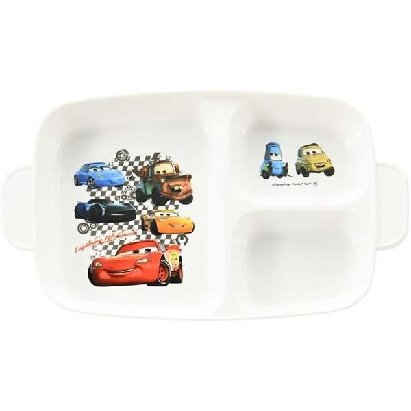 小禮堂 迪士尼 閃電麥坤 日本製 方形三格餐盤 (黑格紋款) 4984909-13410