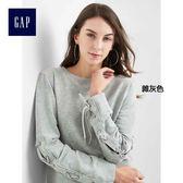 Gap女裝 純色系帶裝飾長袖套頭休閒上衣 334942-雜灰色