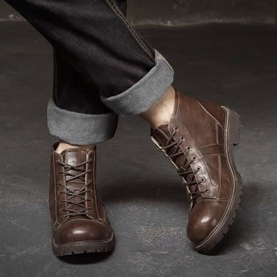 真皮中筒靴-綁帶做舊改色厚底馬丁男靴子2色73kk8【巴黎精品】