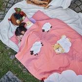 柴柴雲朵飄飄兒童睡袋-女孩粉