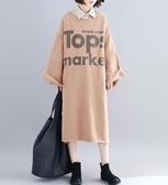 加絨字母洋裝連身裙秋冬寬鬆大尺碼顯瘦印花開叉磨毛BF款衛衣裙 超值價