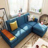 林氏木業簡約現代多功能儲物右三人布沙發床+腳踏(附抱枕)1004-藍色