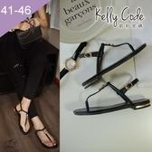 大尺碼女鞋-凱莉密碼-時尚簡約水鑽寬版真皮夾腳平底涼鞋2cm(41-46)【YGX8】黑色