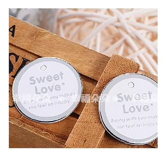 幸福朵朵*【銀色圓型Sweet Love文字小吊牌】婚禮小物.裝飾吊牌.包裝材料用品