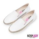 女鞋 休閒鞋 懶人鞋 MIT台灣製 真皮鞋 拼接金屬皮革磁力厚底氣墊球囊鞋(純色白) Normlady 諾蕾蒂