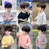 童裝男童長袖t恤2019新款秋季兒童純棉體恤中小童純色休閒打底衫