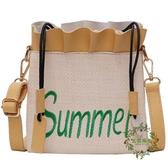 夏天女新款正韓休閒百搭水桶包時尚洋氣草編單肩斜挎包