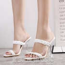 高跟涼鞋2021夏季歐美時尚方頭一字帶涼鞋女貨號3-12 【快速出貨】