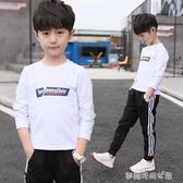 男童秋裝白色長袖T恤新款春秋季打底衫大兒童男孩上衣潮洋氣8 夢露時尚女裝