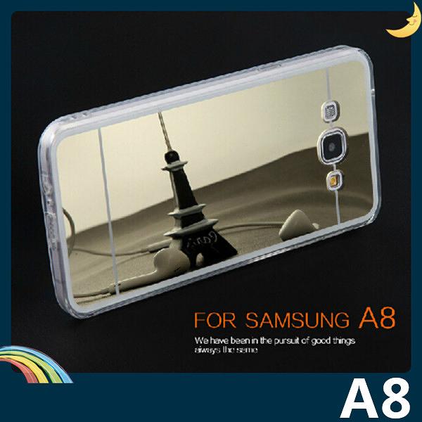 三星 Galaxy A8 電鍍鏡面矽膠套 軟殼 奢華時尚 可搭指環 加厚全包款 保護套 手機套 手機殼