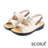 SCONA 全真皮 手工舒適厚底涼鞋 米白色 22501-1