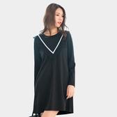 黑色洋裝--優雅V型撞色織帶拼接雪紡荷葉口袋寬鬆長袖連衣裙(黑L-3L)-A363眼圈熊中大尺碼◎