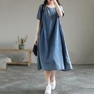 文青休閒風短袖牛仔洋裝連身裙薄款女中大尺碼【75-16-85457-21】ibella 艾貝拉