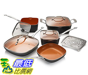 [8美國直購] 不沾鍋 廚具套裝 Gotham Steel 10-Piece Square Kitchen Set with Non-Stick Ti-Cerama Coating Graphite