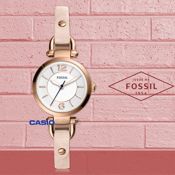 FOSSIL 手錶專賣店  ES4340 纖細優雅石英女錶 皮革錶帶 不鏽鋼錶殼 白色錶面 防水50米