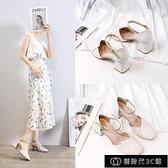 女士涼鞋 4cm中高跟單鞋女粗跟一字扣帶春夏新款包方頭仙女風氣質涼鞋