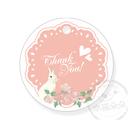 幸福朵朵*【禮物吊卡包裝3.5X3.5圓形吊牌-小兔花園(粉)零售-不含其它配件】婚禮小物禮物包裝