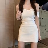 針織連身裙連身裙女夏新款夏季女神范裙子一字肩性感顯瘦氣質裙白色針織  迷你屋 新品