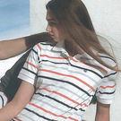【義大利 SINA COVA】女版運動休閒電腦條紋短POLO衫-橘灰條紋#SW811A