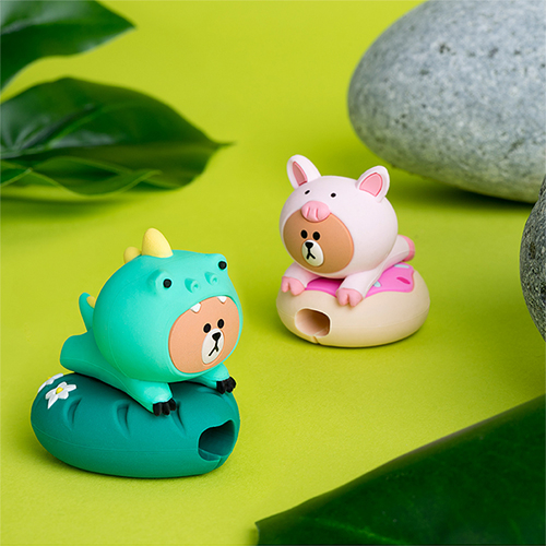 LINE FRIENDS 熊大 恐龍 豬豬│防斷裂 咬線器 充電線 保護套│z9271