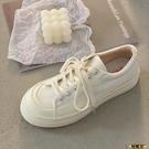 鬆糕鞋 厚底帆布鞋女2021年春季新款鬆糕鞋設計感小眾增高休閒小白鞋板鞋 618購物