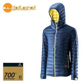 丹大戶外【Wildland】荒野 男款 700FP連帽輕羽絨衣 0A22112-49 深灰藍