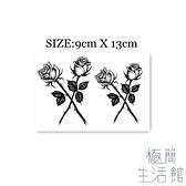5張|暗黑 交叉玫瑰花葉子手背虎口花朵紋身貼刺青【極簡生活】