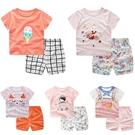 嬰兒短袖套裝 可愛卡通 短袖上衣 + 短...