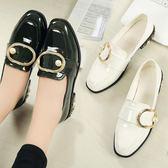 紳士鞋女皮鞋女韓版百搭豆豆鞋英倫風粗跟單鞋休閒潮女鞋子 貝芙莉女鞋