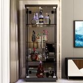 紅酒櫃現代簡約鋼化玻璃酒柜紅酒裝飾酒柜擺件客廳小酒柜雙單門展示柜-凡屋FC