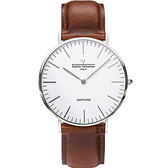 【VALENTINO 范倫鐵諾】經典皮革手錶-40mm 71418M白面鋼色咖啡帶
