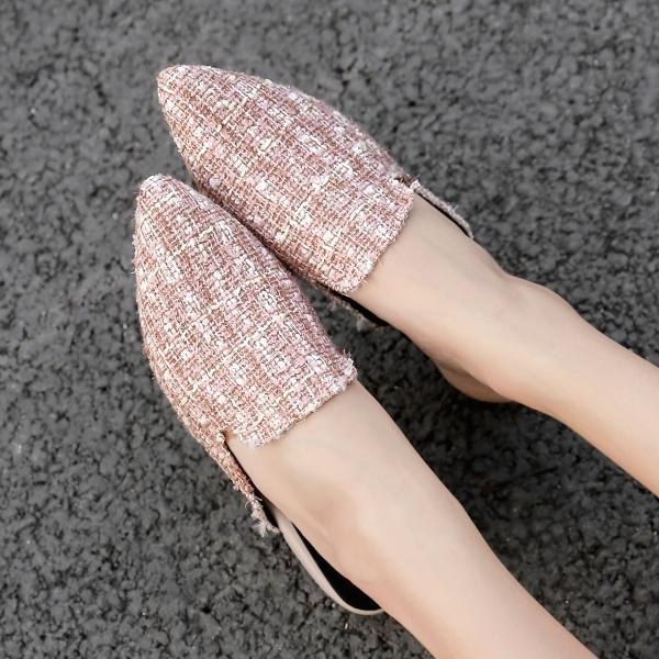 穆勒鞋.訂製款.MIT秋冬優雅金蔥毛呢平底拖鞋.白鳥麗子