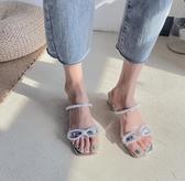 珍珠涼鞋女夏新款潮百搭粗跟方頭仙女風一字帶涼鞋女 - 風尚3C