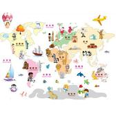 BO雜貨【YV2885-1】創意可重覆貼壁貼 室內佈置 幼兒園 兒童房 世界地圖 五大洲 AY9112