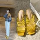 女鞋34~41 2020新款方頭水晶中跟涼鞋 ~3色