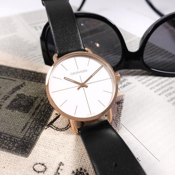 CK / K7B216C6 / EVEN 簡約時尚 礦石強化玻璃 皮革手錶 白x玫瑰金框x黑 42mm