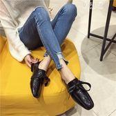 小皮鞋女英倫黑色單鞋學院風百搭一腳蹬樂福鞋 伊莎公主