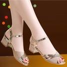 魚口鞋 真皮足意爾康涼鞋女2021夏季新款中跟魚嘴夏天一字扣帶粗跟媽媽鞋 韓國時尚週 免運